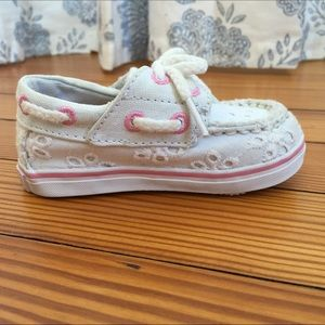 Baby Girl White and Pink Eyelet Bahama Sperry Shoe